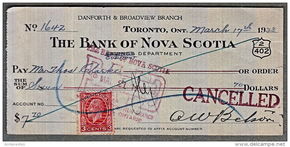 A5288 CANADA 1933, Cleared Check (cheque) Bank Of Nova Scotia - Vieux Papiers
