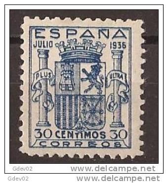 ES801-L4040TESSC.España Spain Espagne. ESCUDO DE ESPAÑA.1936. (Ed 801**).sin Charnela.Magnifico,CERTIF ICADO - Sin Clasificación