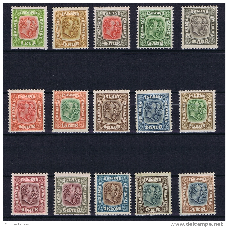 Iceland: 1907, Mi Nr  48 - 62  MH/* And MNH/**, Very Light Hinged, No Paper Only Traces In Gum. - Ongebruikt