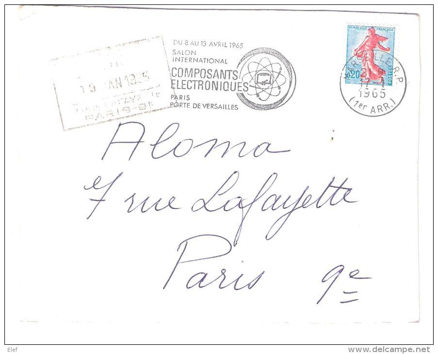 """Carte De Marseille  Flamme Temporaire"""" Salon Composants Electroniques"""" (Commande Porte Clés Zodiaque,Champagne,Alcool ), - Marcophilie (Lettres)"""