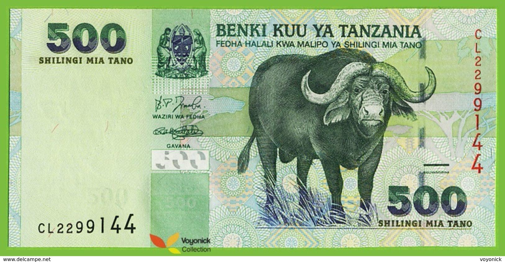 Voyo TANZANIA 500 Shilingi ND(2003) P35 B134a Prefix CL UNC Buffalo - Tanzanie
