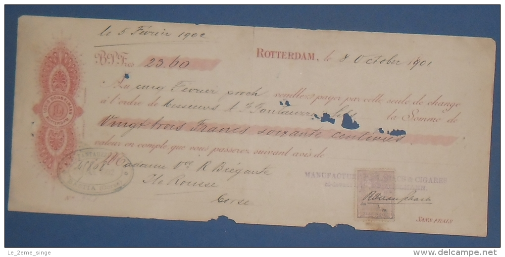 NEDERLAND Rotterdam Tabacs LOUIS DOBBELMANN Effet De Commerce Timbre Fiscal Néerlandais1901 - Documents