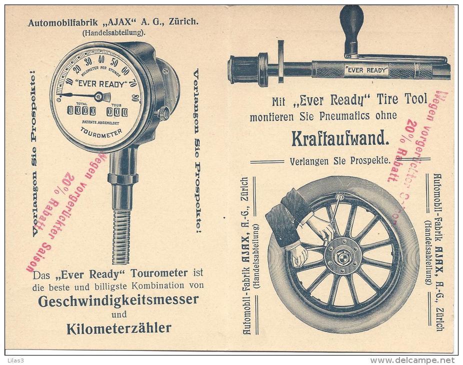 entier postal publicitaire zurich 1908 automobile compteur de vitesse roue pneu outils superbe. Black Bedroom Furniture Sets. Home Design Ideas