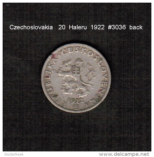 CZECHOSLOVAKIA    20  HALERU  1922  (KM # 1) - Czechoslovakia