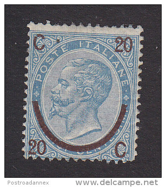 Italy, Scott #34a, Mint Hinged, King Victor Emmanuel II Surcharged, Issued 1865 - Mint/hinged