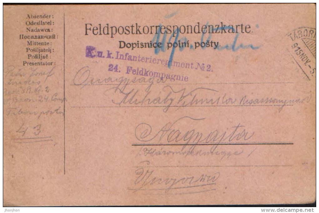 Romania/Hungary-Field Post Postcard 1915 K.u.k 24 Feldkompagnie ,circulated To Nagyajta ,Ardeal- 2/scans - World War 1 Letters