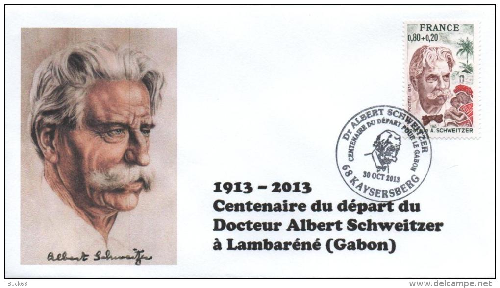 Cachet Temporaire Albert SCHWEITZER Expo KAYSERSBERG 100 Ans Départ Gabon 02 - Albert Schweitzer