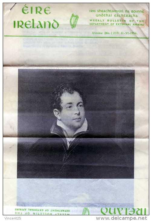 JOURNAL JOURNAUX IRLANDAIS EIRE IRELAND IRIS IRISH WEEKLY BULLETIN OF THE  DEPARTEMENT OF EXTERNAL AFFAIRS DUBLIN  PAPER - Nouvelles/ Affaires Courantes