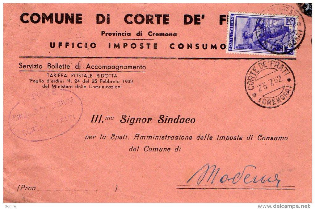1952 STORIA POSTALE COMUNI ITALIA AL LAVORO BELLA BUSTA COMUNE DI CORTE DE FRATI(CREMONA)--R819 - 1946-60: Marcofilie