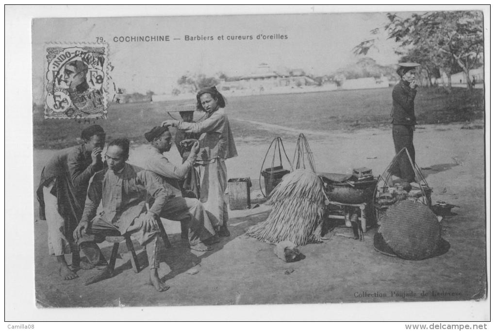 COCHINCHINE.BARBIERS ET CUREURS D OREILLES.RARE METIERS ANCIENS.TIMBRE INDO-CHINE.1911 - Farmers
