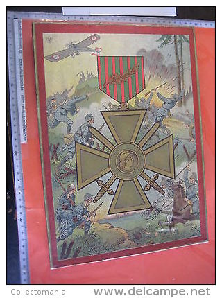 Jigsaw In PLASTER Shapes With Lithography , 3 Such  Puzzles In Original Box , C1918 : Medailles Medals Flags  Battles - France