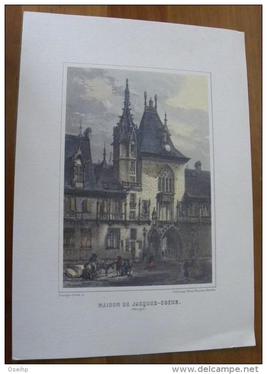 Gravure MAISON De JACQUES COEUR Bourges Rouargue Frères Réedition - Prints & Engravings