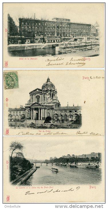 3 CPA Editeur Künzli Val De Grâce / Hôtel De La Monnaie Et Canal / La Seine Vu Du  Pont Neuf - Sets And Collections