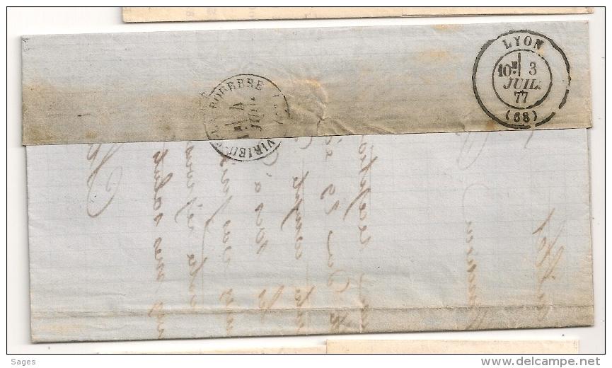 SAGE 25C Outremer, LYON-GUILLOTIERE Rhonesur Lettre. - Storia Postale