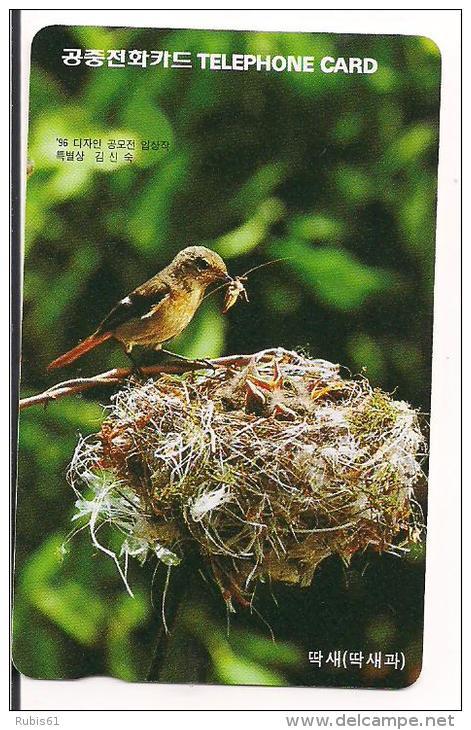 TARJETA TELEFONICA PAJARO KOREA - Pájaros Cantores (Passeri)