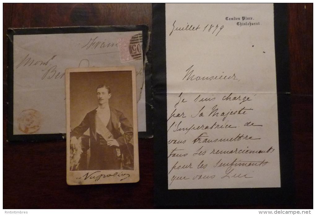 RARE AUTHENTIQUE REMERCIEMENTS DE LA PART DE SA MAJESTE L IMPERATRICE POUR LE DECES DU PRINCE IMPERIAL AVEC  PHOTO - Historical Documents
