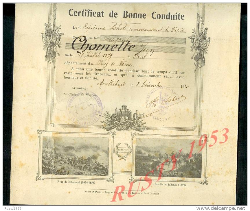 19 124 militaria militaire certificat de bonne conduite montbeliard 1920 15e bataillon de. Black Bedroom Furniture Sets. Home Design Ideas