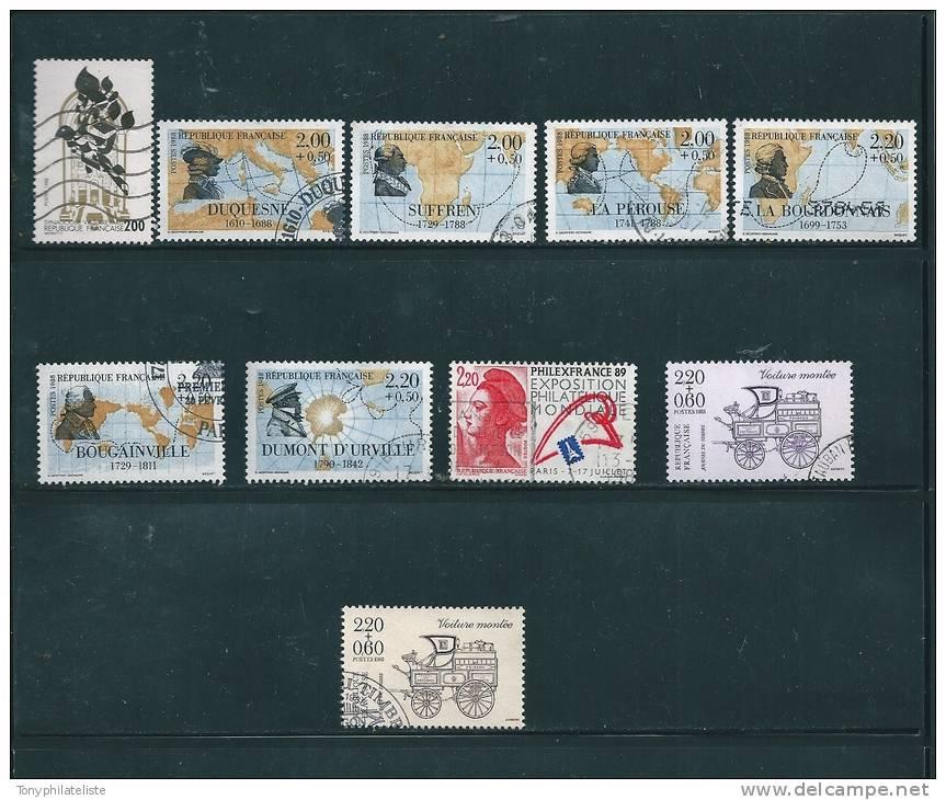 France Timbres De 1988  Oblitérés  N°2516  A  2526 - France