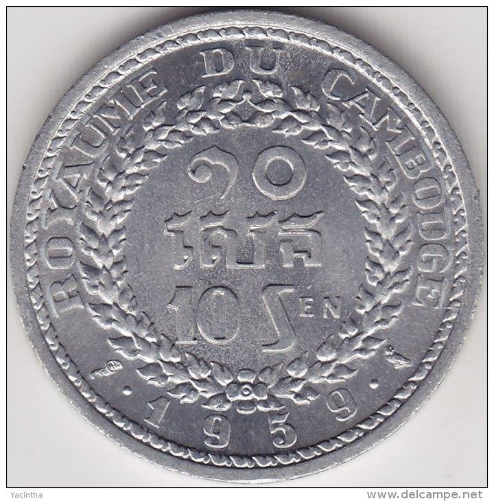 @Y@  Cambodja  10 Cent 1959  AUNC     (2371) - Cambodge