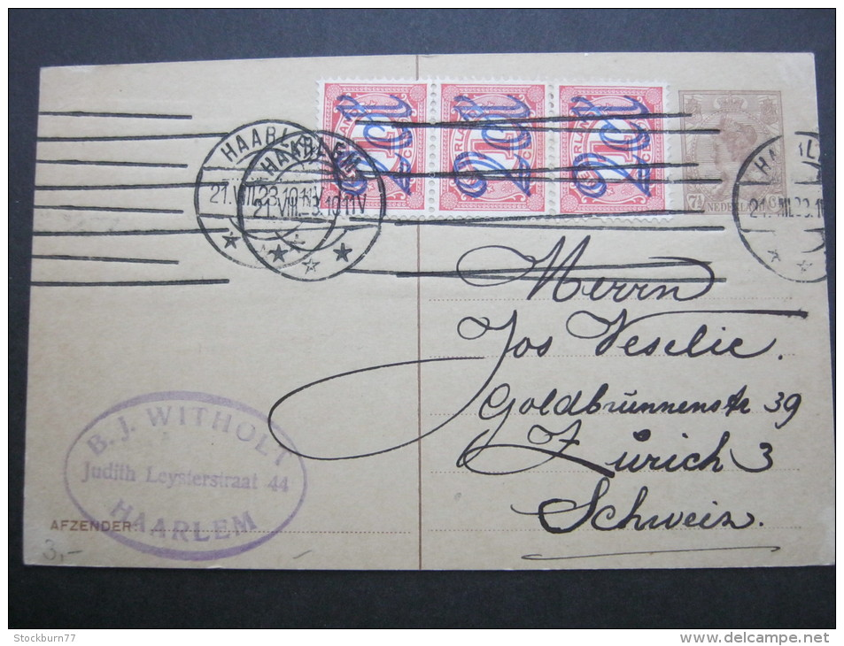 1923, Karte Nach Zürich - Postal Stationery