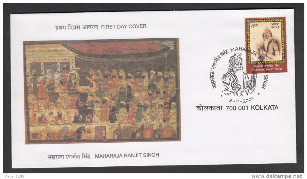 INDIA , 2001, FDC, Bicentenary Of Ranjit Singh´s Coronation As Maharaja Of Punjab, Kolkata Cancelled - FDC