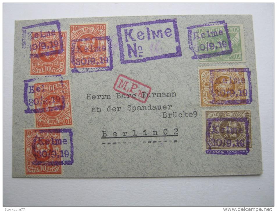 1919, ELME, Einschreiben Nach Berlin - Lithuania