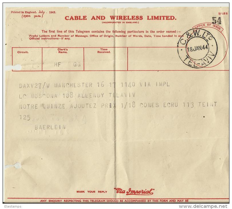 =ISRAEL 1944 TELEGRAM - Briefe U. Dokumente