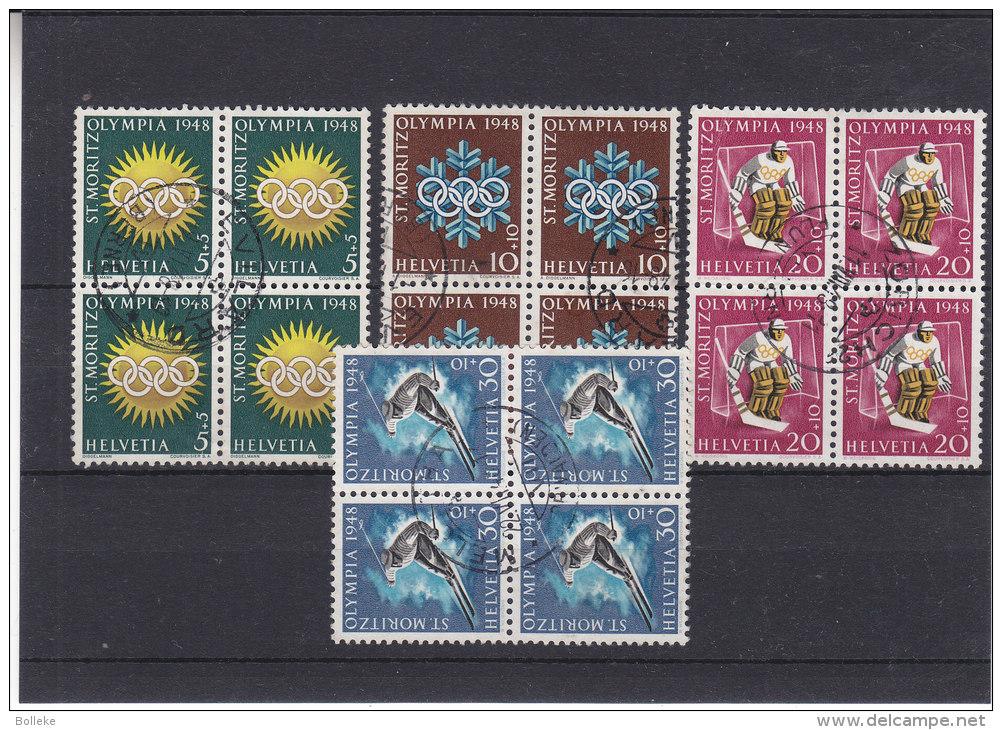 Jeux Olympiques - Ski - Hockey - Suisse - Yvert 449 / 52 Oblitérés - En Bloc De 4 - Rare - Valeur ± 50 € Selon Cat Suiss - Winter 1948: St-Moritz