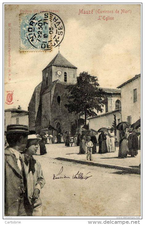 79-MAUZE-L´Eglise- (Sortie De La Messe) Précurseur  Dos Non Divisé-Très Animée - Mauze Sur Le Mignon
