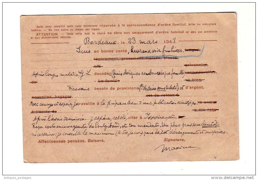 Carte Postale Entier Postal Iris 0,90F 1941 Retour à L'Envoyeur Cachet Inadmis Bordeaux Gironde Issoire Puy De Dôme - Cartes Postales Types Et TSC (avant 1995)