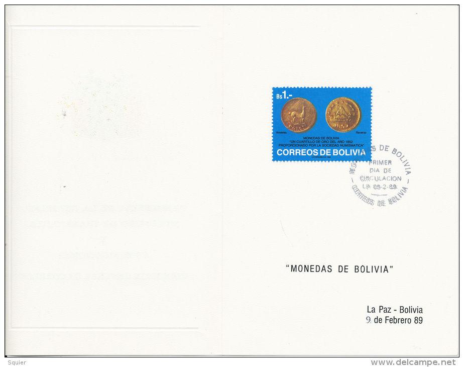 FDC, Bolivia,Gold Coins, Monedas, Ministry Of Transport,1989,Beautiful Condition - Bolivië