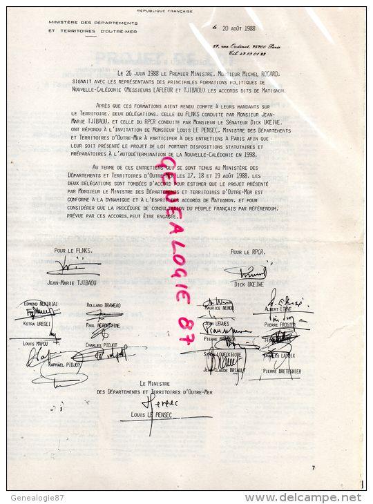 REFERENDUM DU 6 NOVEMBRE 1988 SUR LA NOUVELLE CALEDONIE- FRANCOIS MITTERRAND-J.M TJIBAOU- LOUIS LE PENSEC-DICK UKEIWE - Documents Historiques