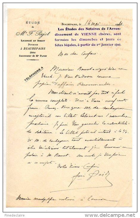 Etude De Me F. Pajot, Licencié En Droit, Notaire à Beaurepaire (Isère) - 1910 - Manoscritti