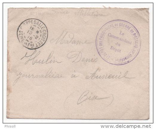 Lot 833: Lettre Avec Grand Cachet Dépôt Des Prisonniers De Guerre 14/18 Du Camp De Biessard Du 19.02.1916 - Storia Postale