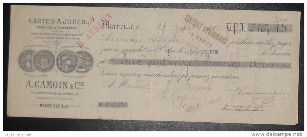 MARSEILLE La Pomme La Capelette Document Autographe Cartes à Jouer A.CAMOIN & Cie 1912 - Non Classés