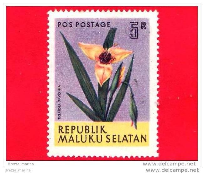 Etichette Di Fantasia -  1954 - Republik Maluku Selatan - Flora - Piante - Tigridia Pavonia - 5 - Altri