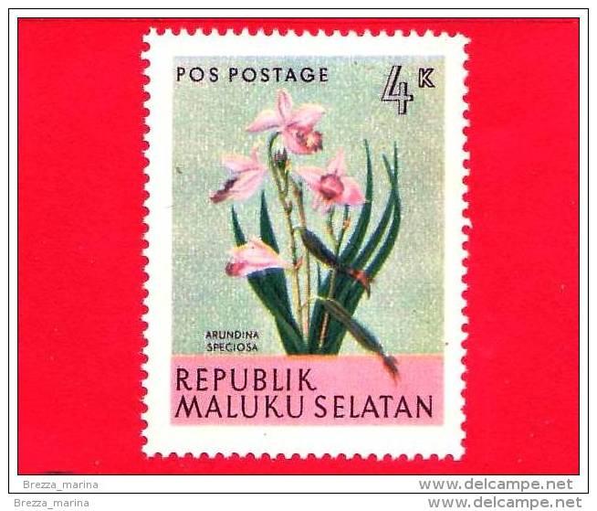Etichette Di Fantasia -  1954 - Republik Maluku Selatan - Flora - Piante - Arundina Speciosa - 4 - Altre Collezioni