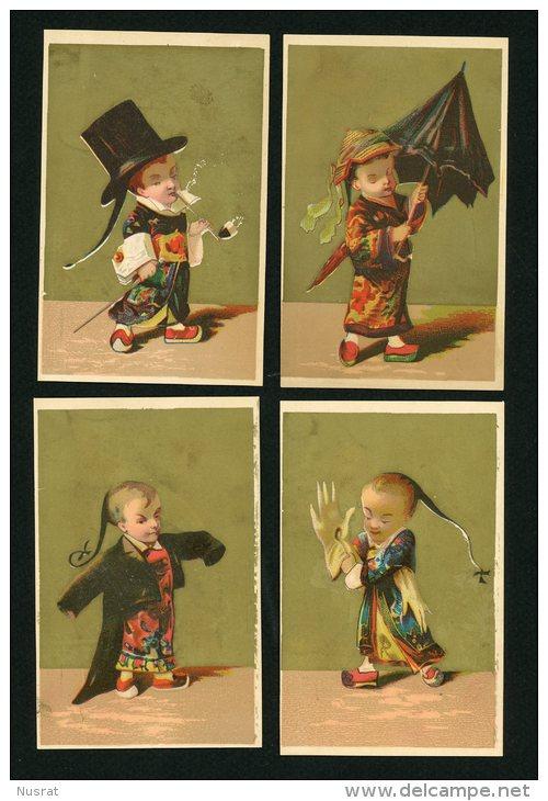 Série Complète 6 Chromos Lith. Vallet Minot, VM1-39 Chinois Dans Divers Costumes, Parapluie, Gants, Pipe, échasses - Sonstige