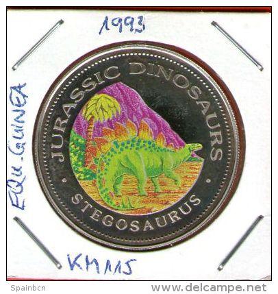 Guinea Ecuatorial / Equatorial Guinea - 1000 Francos 1993 KM#115 Cu-Ni Proof  STEGOSAURUS - JURASSIC DINOSAURS - Guinée Equatoriale