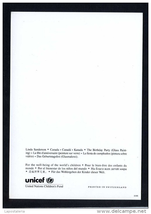 Ilustrador: *Linda Sanderson* Ed. Unicef. Impreso Díptico. Nueva. - Ilustradores & Fotógrafos