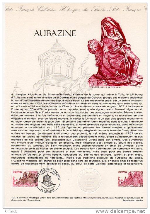 """1978 """" AUBAZINE """" Sur Doc Officiel 1°Jour. N° YT 2001. Parfait état + Prix Degressif ! DPO - Postdokumente"""
