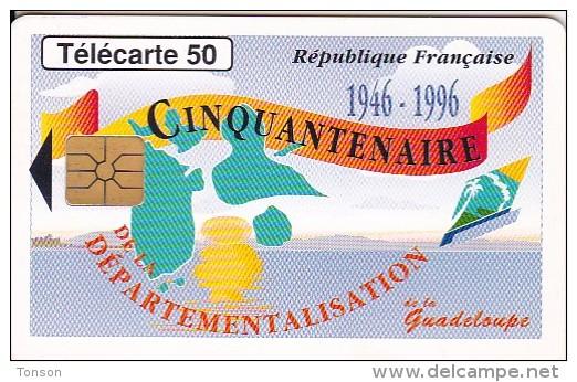 France, 0628.Gem1A Noir, Guadeloupe Cinquantenaire, 2 Scans. - Télécartes