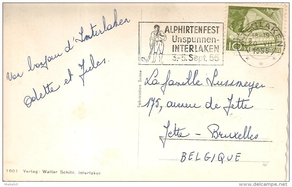 INTERLAKEN-PANORAMA-au Verso Oblitération Flamme Mécanique ALPHIRTENFEST-marcophilie - BE Berne