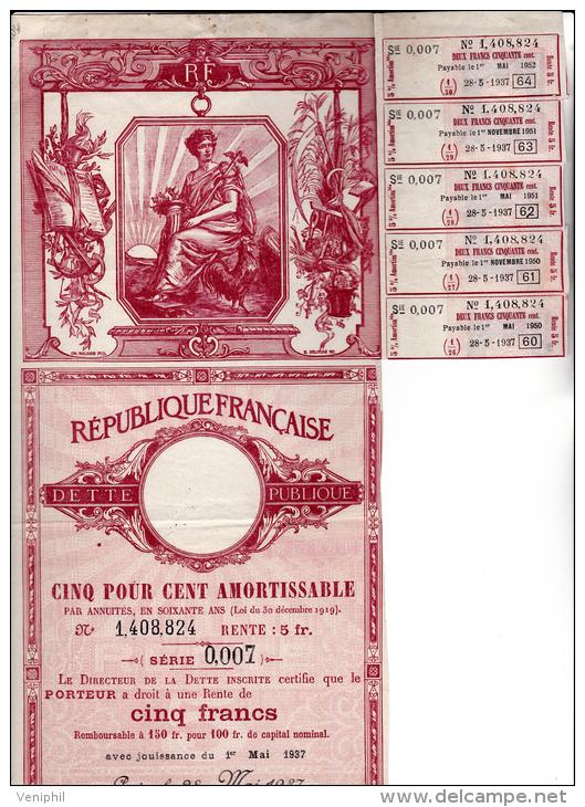 RENTE DETTE PUBLIQUE 5% 1937 - - Banque & Assurance