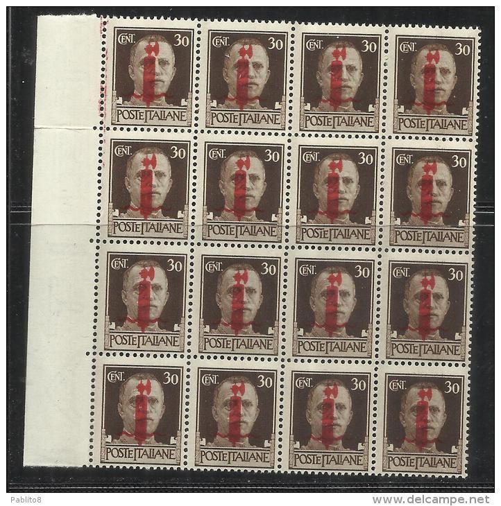 ITALIA REGNO ITALY KINGDOM 1944 REPUBBLICA SOCIALE ITALIANA RSI CENT 30 MNH FASCIO VERONA BLOCCO 16 BLOCK SIGNED FIRMATO - Nuovi