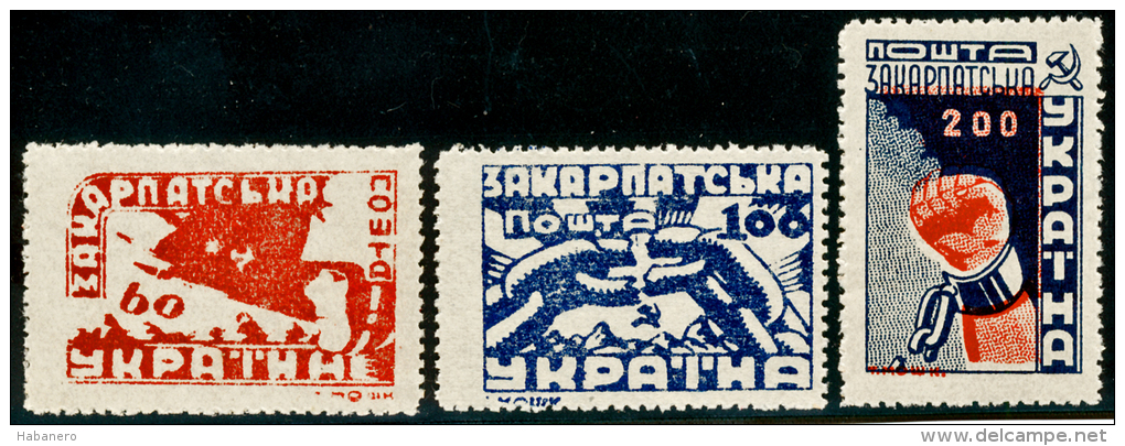 CARPATHO-UKRAINE - 1945 - Mi 78A-80A - UKRAINIAN OCCUPATION - MAY 1th IN FREEDOM - MNH ** - Ukraine Sub-Carpathique