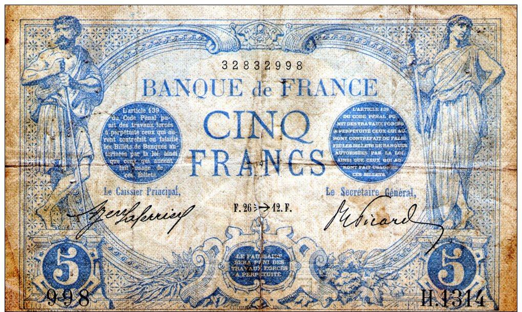 5 FR BLEU NOVEMBRE 1912 - 5 F 1912-1917 ''Bleu''