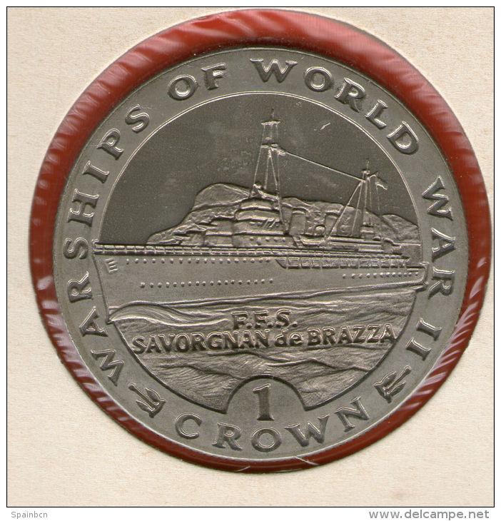 GIBRALTAR *** 1 Crown / Corona  1993 ***  Warships Of WWII - FSS Savorgnan De Brazza - Cu-Ni - 38.8 Mm - KM# 144 - Gibraltar