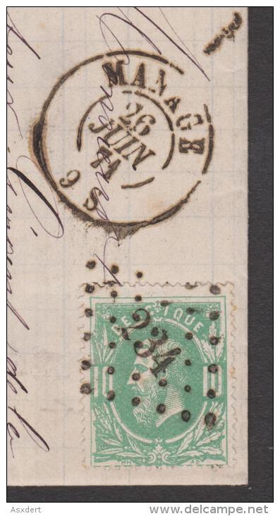 30 - BRIEF / LETTRE  Lp. 234  MANAGE 26-6-1871 >> STREPY - BRAQUEGNIES - 1869-1883 Léopold II