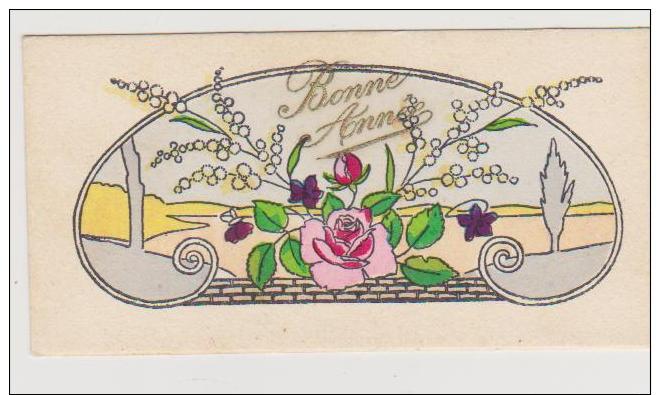 MIGNONETTE BONNE ANNEE . BOUQUET DE ROSE ET MIMOSA . STYLE ART DECO - Nouvel An